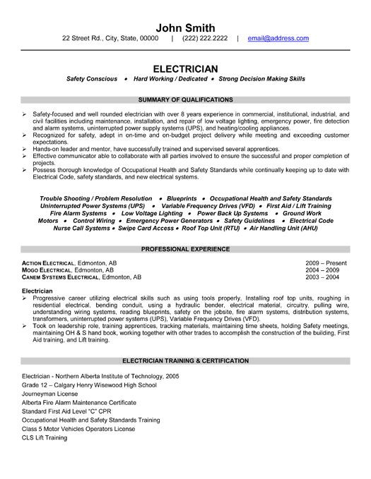 click here to this electrician resume template - Electrician Resume Template