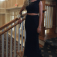 A black two piece prom dress lace design floral lace and dress prom