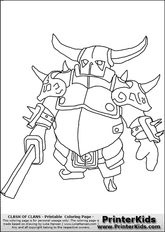 clash of clans  p.e.k.k.a #1  coloring page  clash of