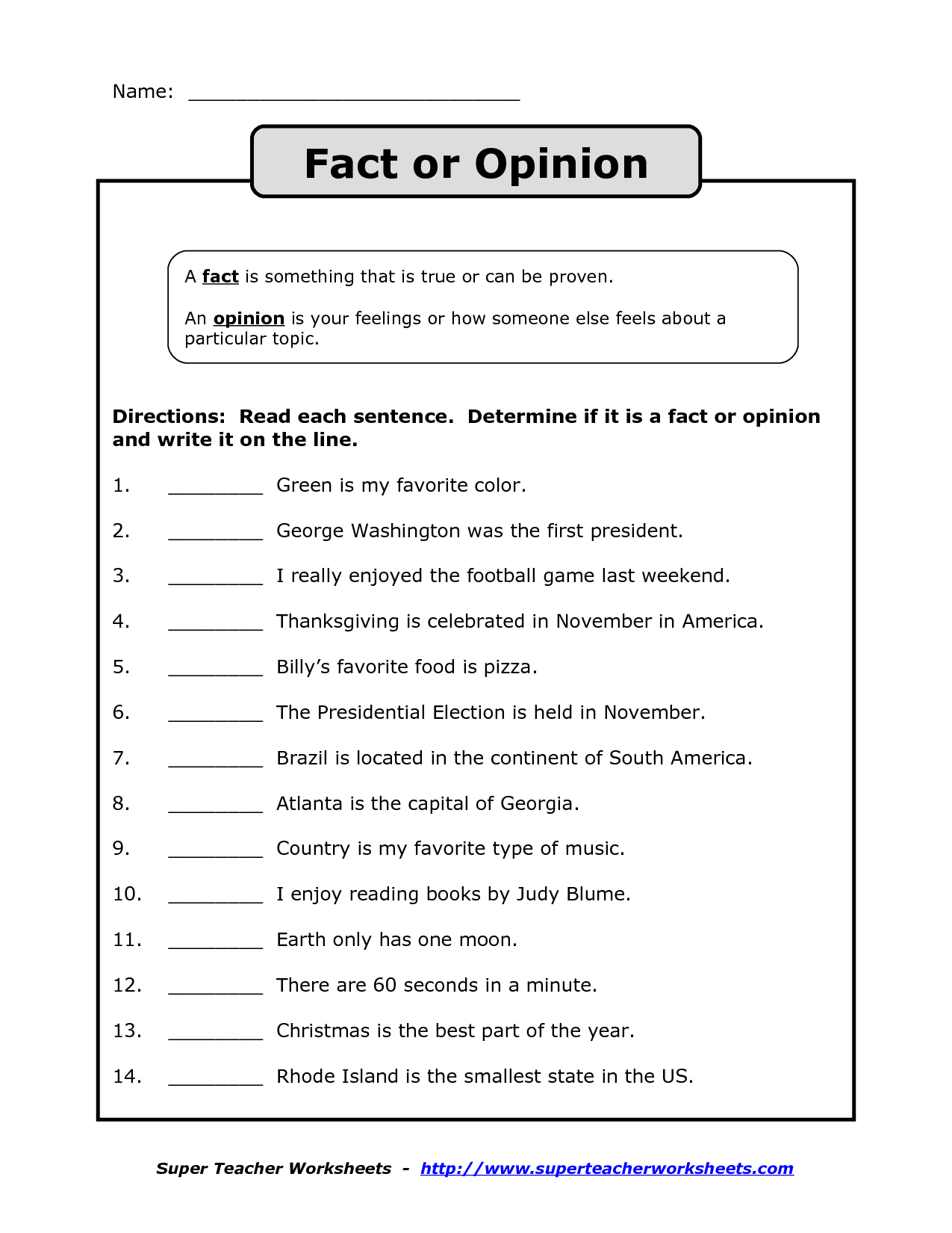 Opinion Worksheet