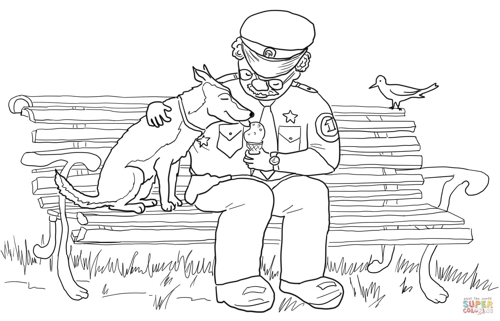 Officer Buckle Feeding Ice Cream To Gloria The Dog At The
