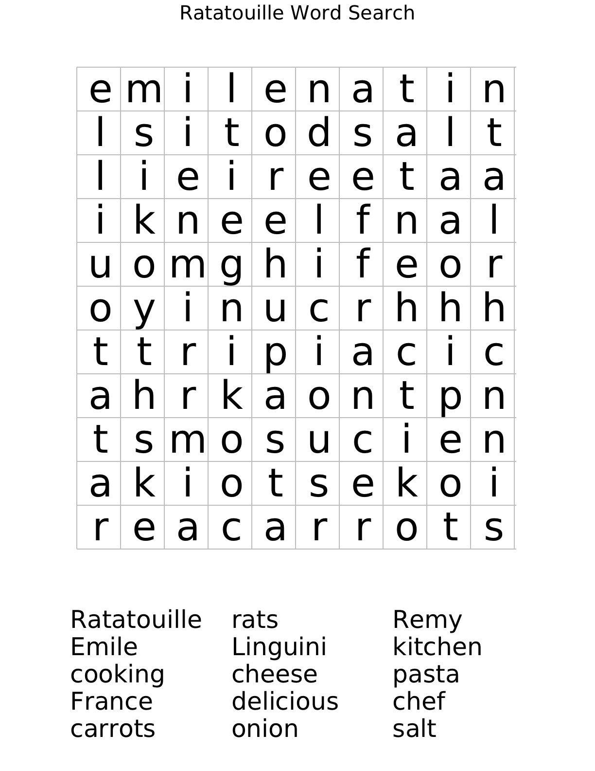Ratatouille Word Search Worksheet