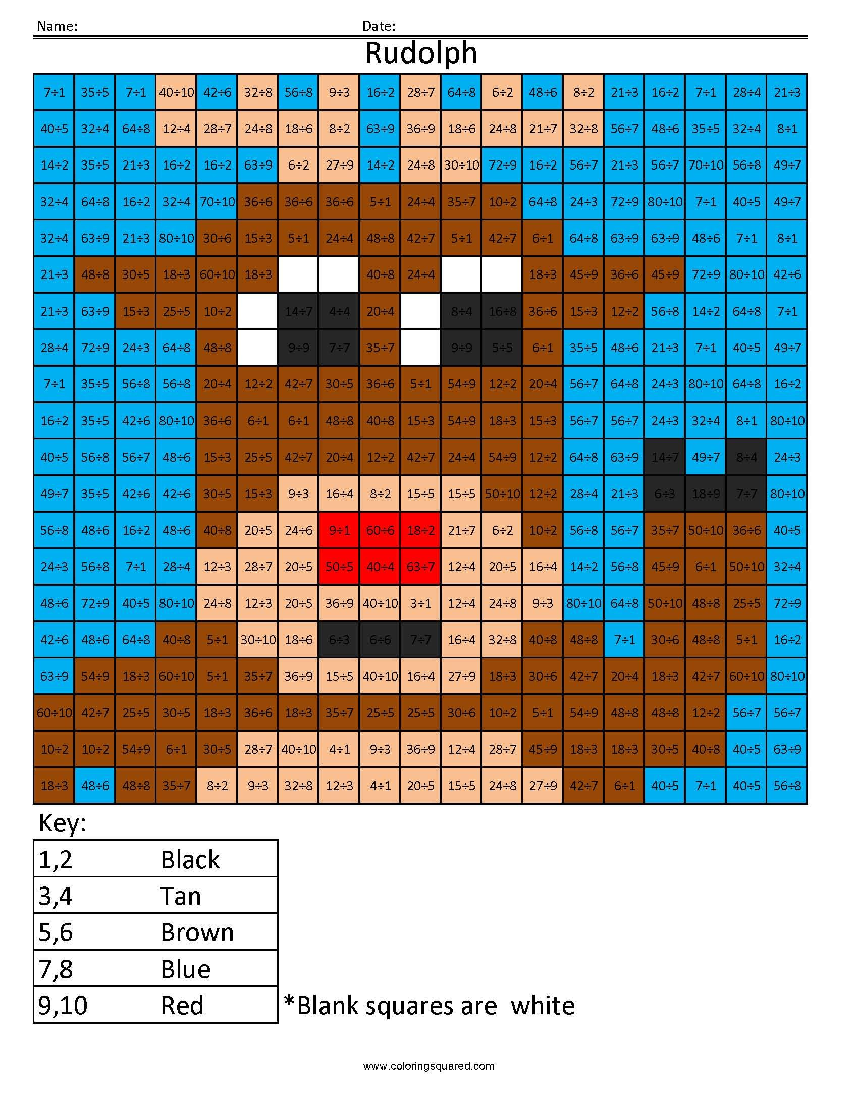 Holiday Multiplication And Division Rudolph