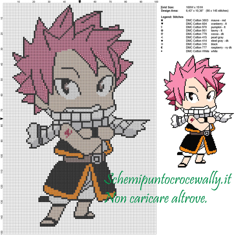 Natsu Fairy Tail Schema Punto Croce 100x151 10 Colori