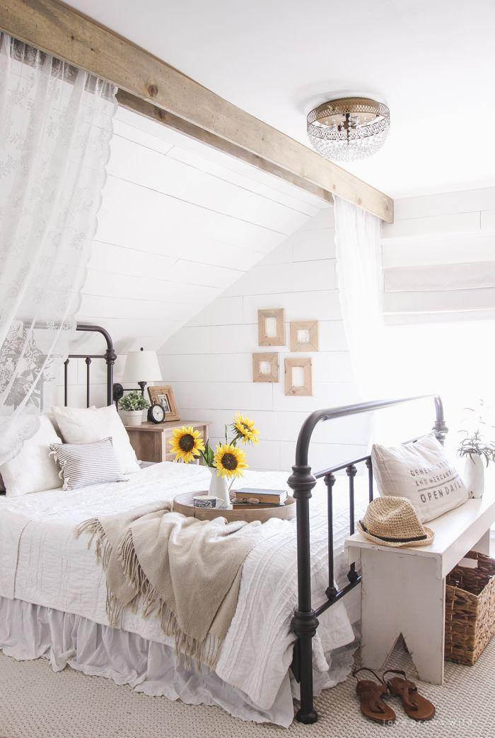 30 Beautiful Farmhouse Decorating Ideas For Summer | Beams ... on Farmhouse Bedroom Curtain Ideas  id=15391