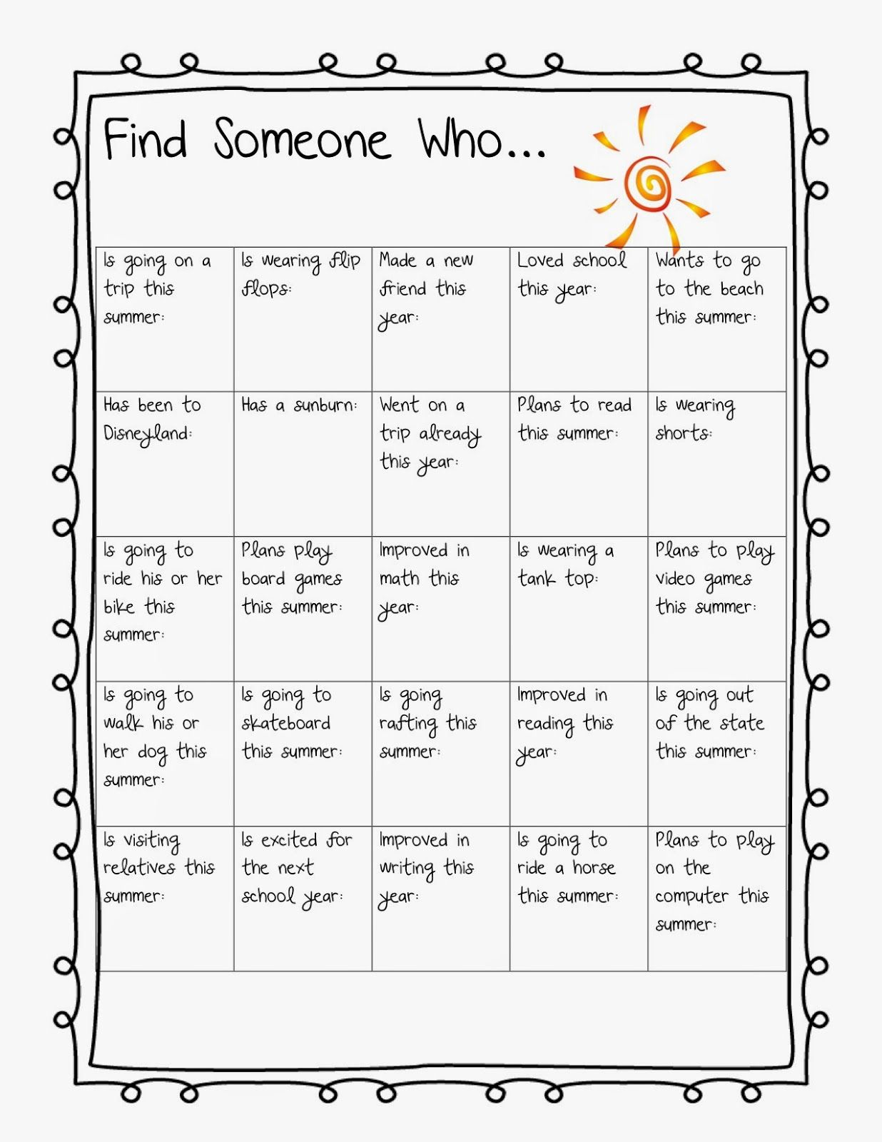 Summer Find Someone Who