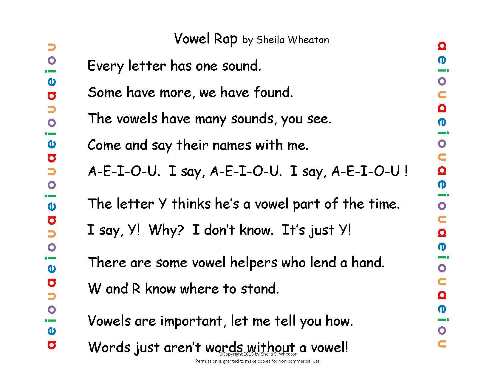 Vowel Rap Chant To Help Remember Vowels A E I O U And