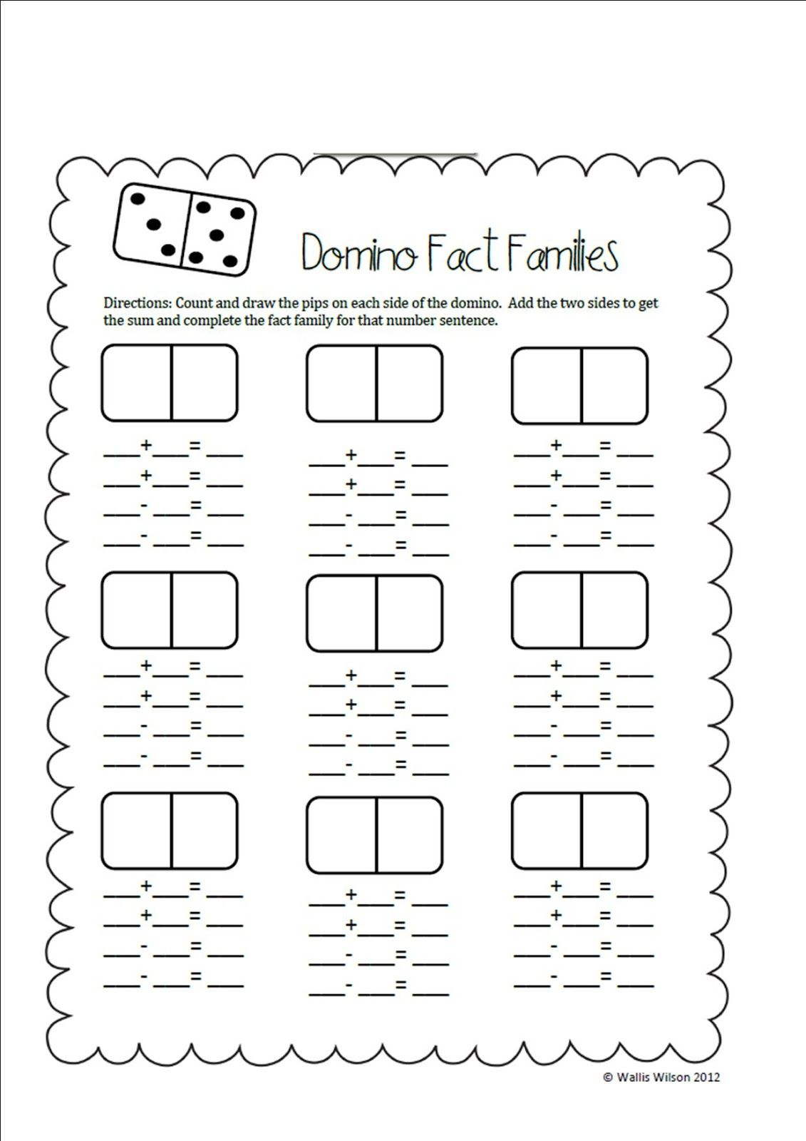 First Grade Wolves Search Results For Domino Fact Families