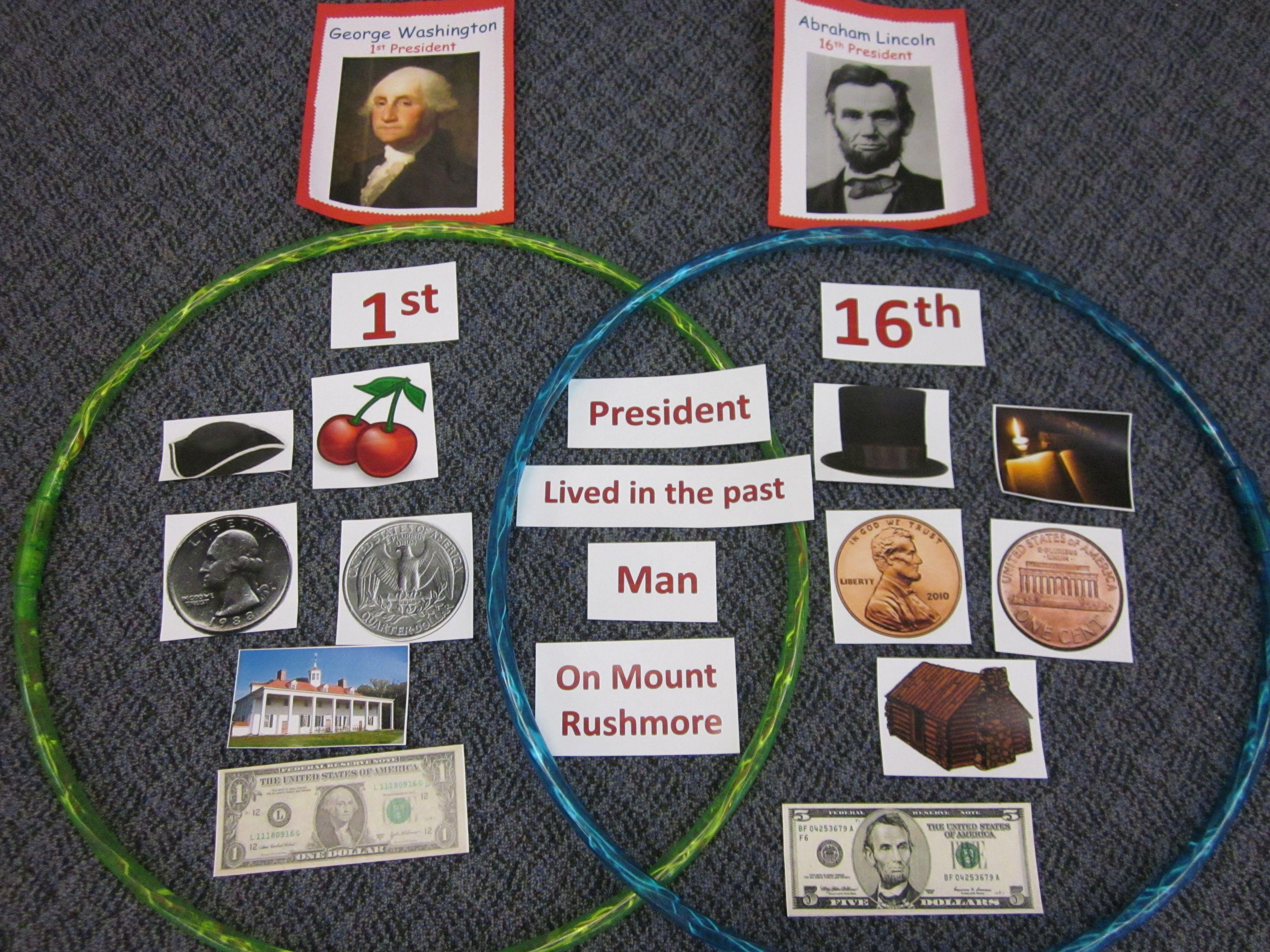 Venn Diagram With Hula Hoops Paring George Washington And Abraham Lincoln E Kids Loved