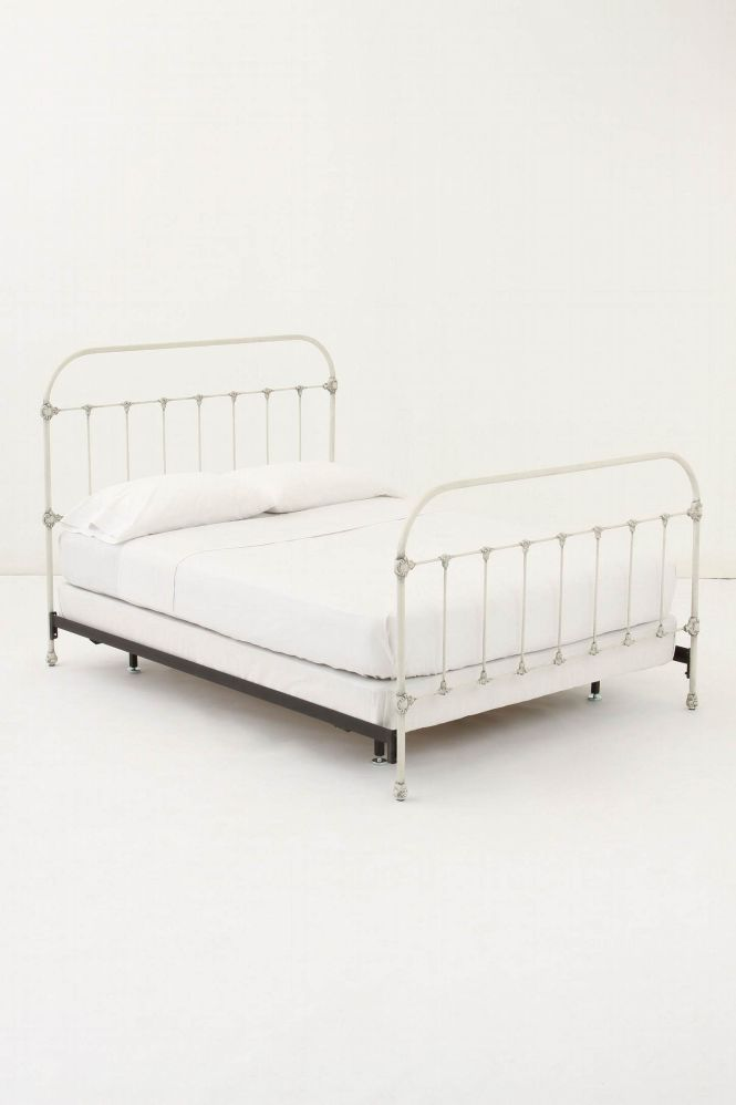 I Imagine This White Iron Bed Frame With A Bright Quilt