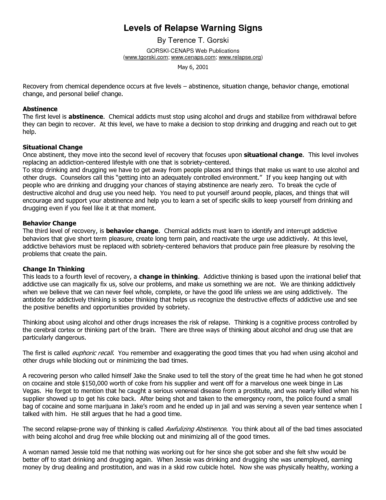 Gorski Relapse Prevention Worksheets