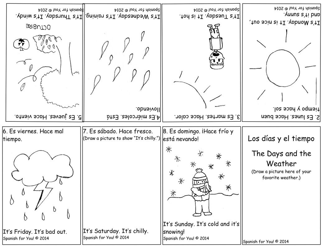 Free Spanish Days And Weather Bilingual Booklet Plus Audio