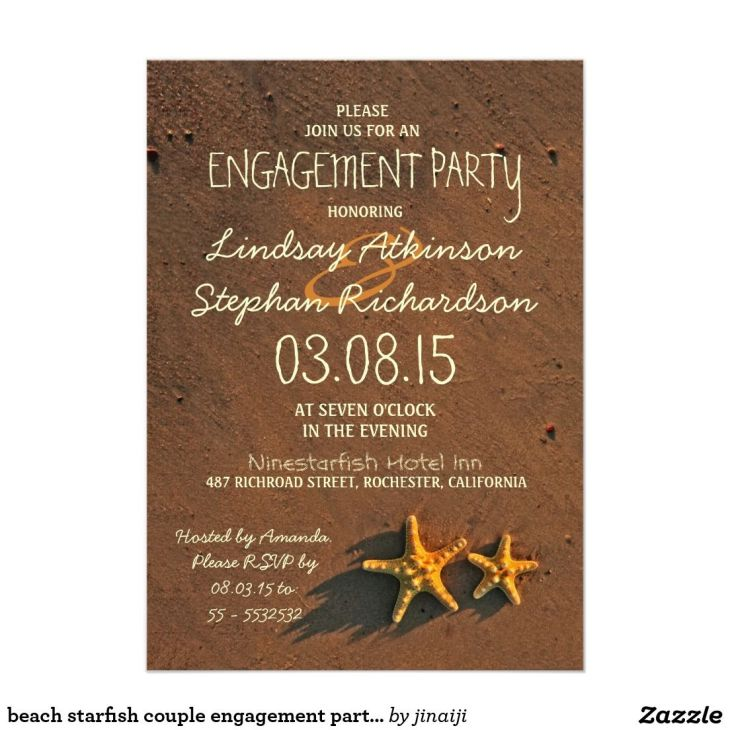 Beach starfish couple engagement party invitations  Engagement