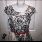 White and black dress white dress with black floral flowers trimmed