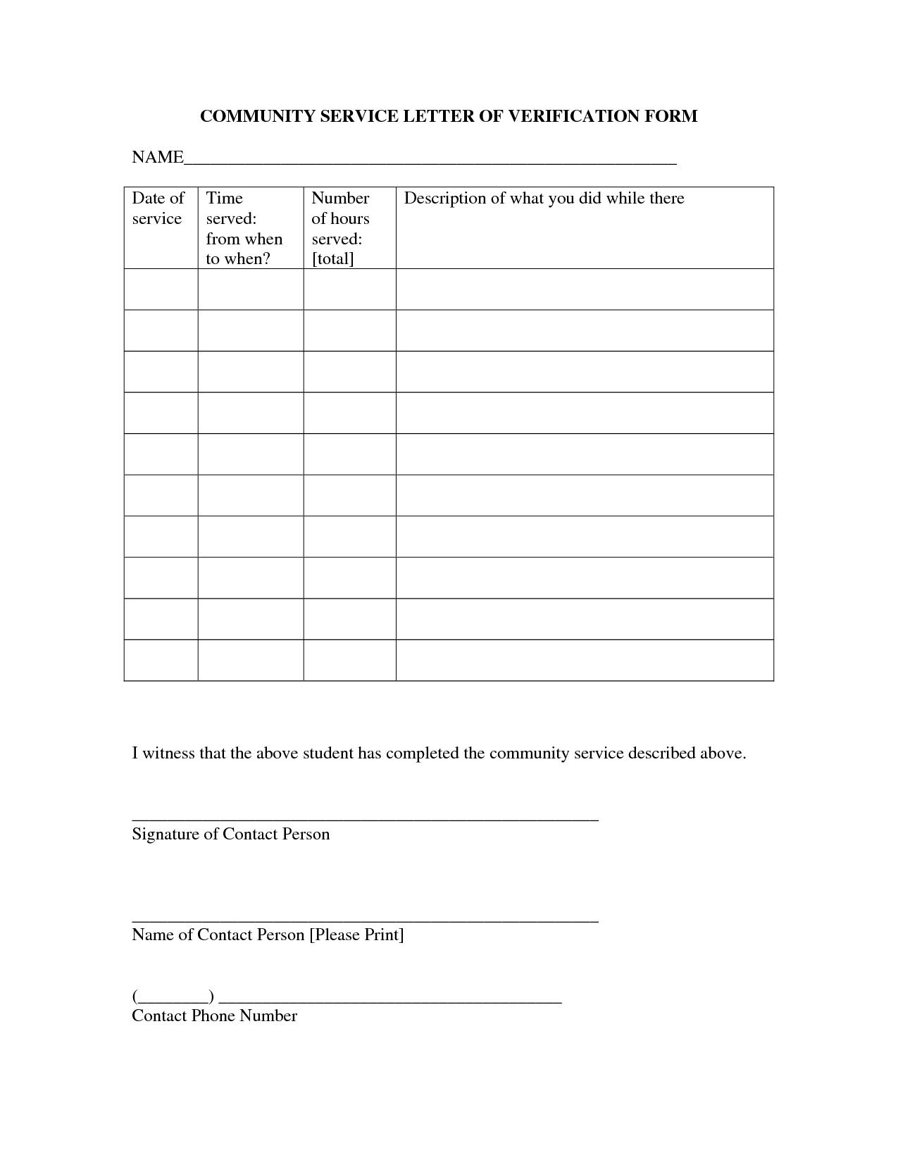 Community Service Form Template
