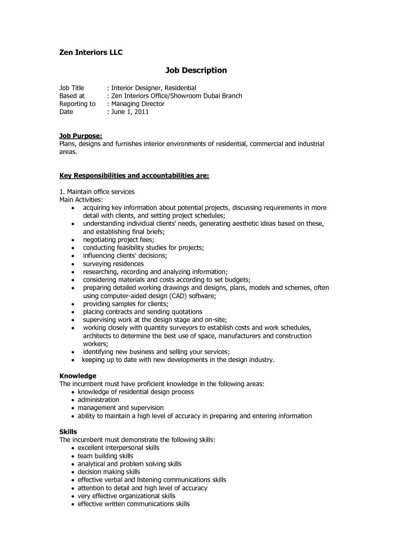 Work description interior designer for Kitchen designer job description for resume