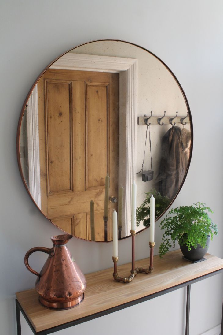 Hallway Furniture Copper Mirror over Steel and Oak Console Table by