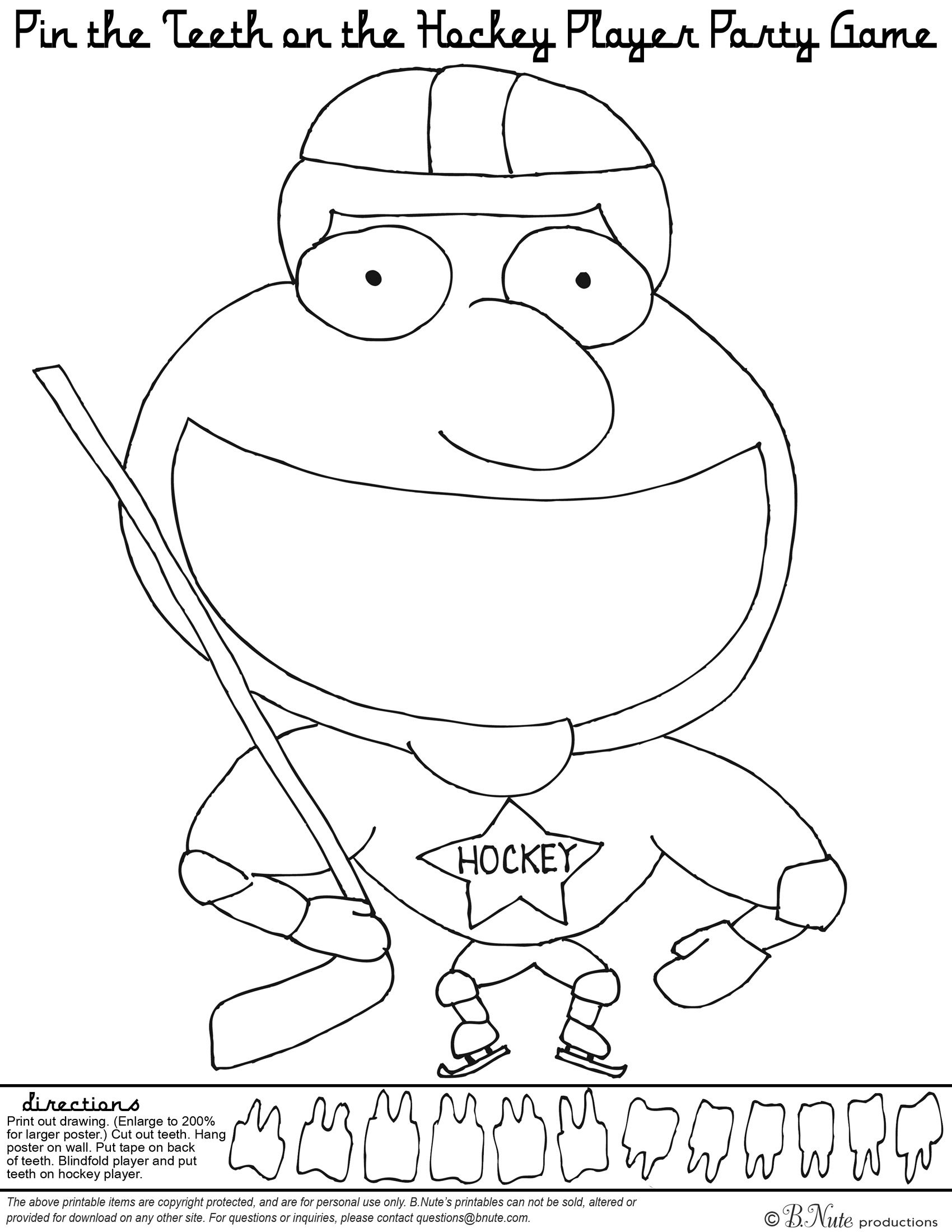 Free Printable Hockey Party Game And Coloring Page Hockey