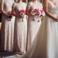 Wedding dress dry cleaning near me  Short Sleeve Sequin Mesh Gown Blush  Indoor wedding Petite sizes