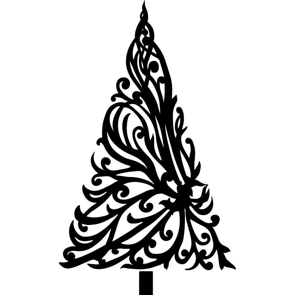 Black Christmas Trees With Floral Drawings For Cards