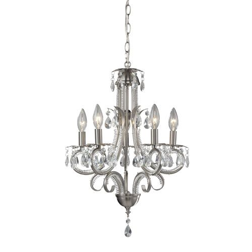 Pearl Five Light Brushed Nickel Tall Mini Chandelier With Clear Crystals Z Lite Candles Wi