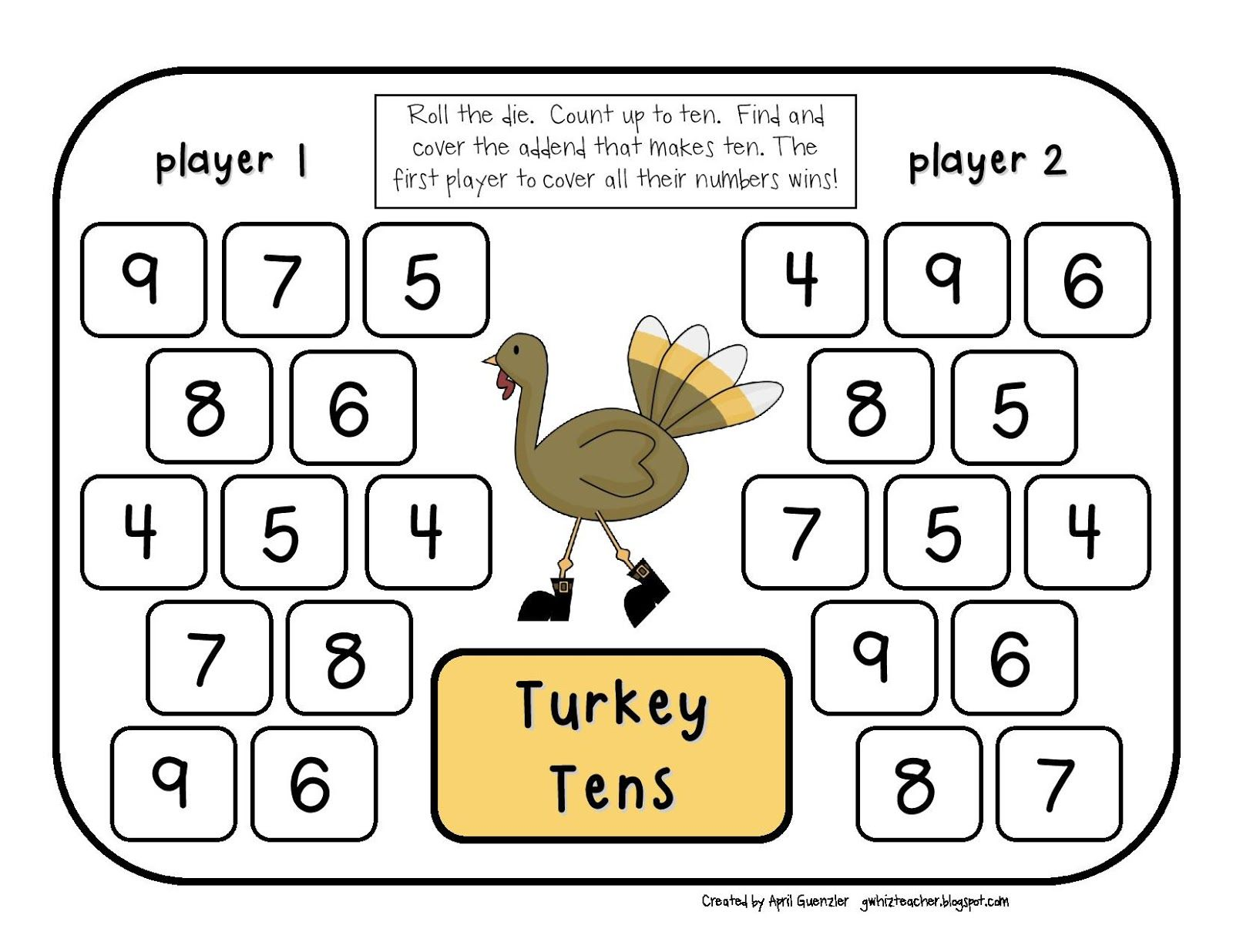 Gwhizteacher Thanksgiving Math Games Math Daily 5