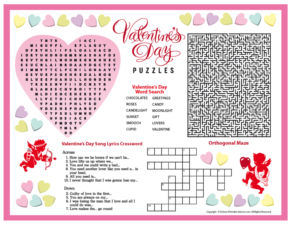 Valentine S Day Puzzles Printable Placemat