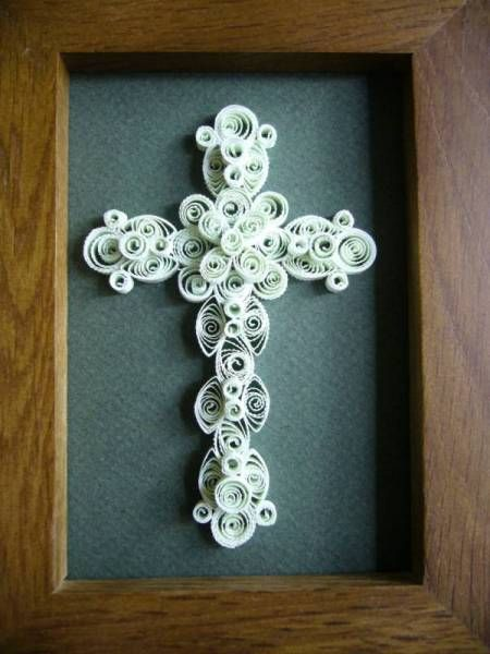 Quilling Cross Light Green Cross Quilled Creations