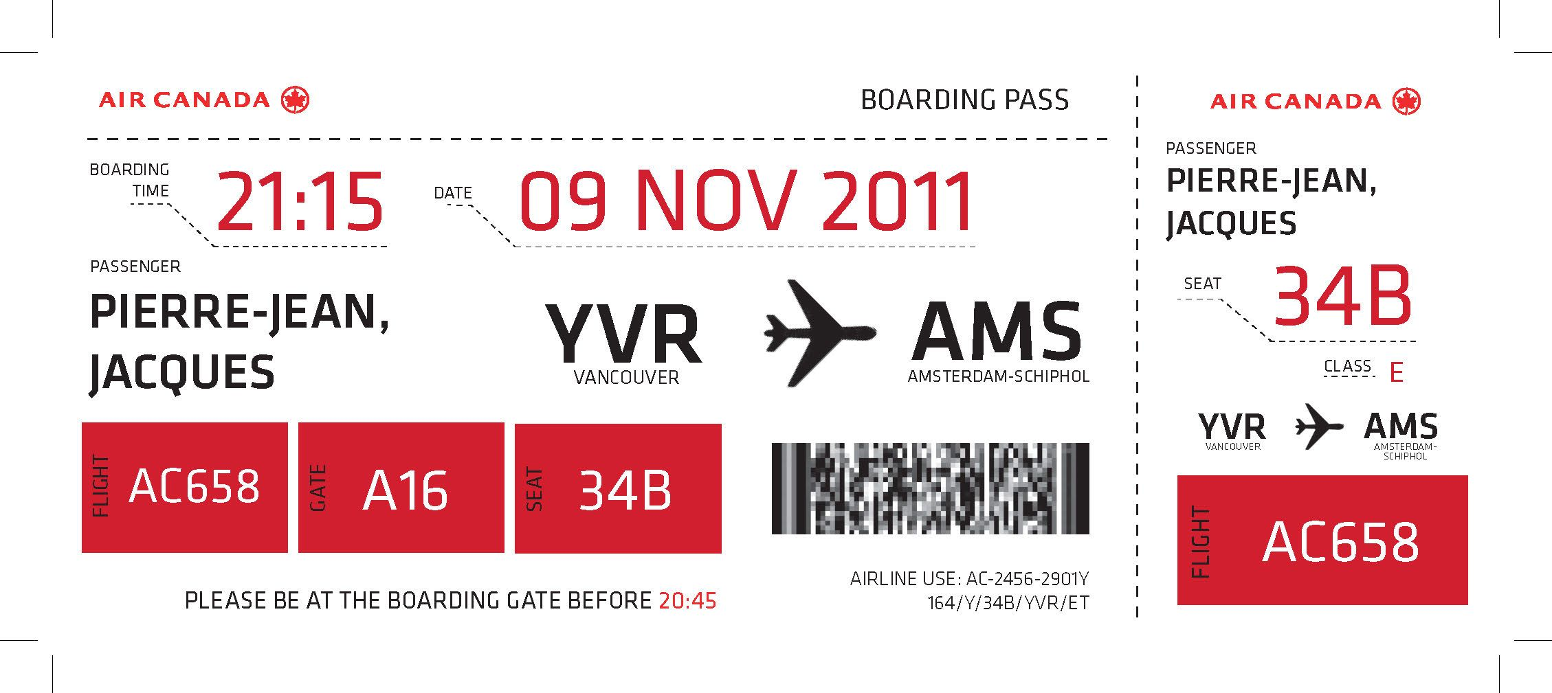 Boarding Pass Carte D Embarquement