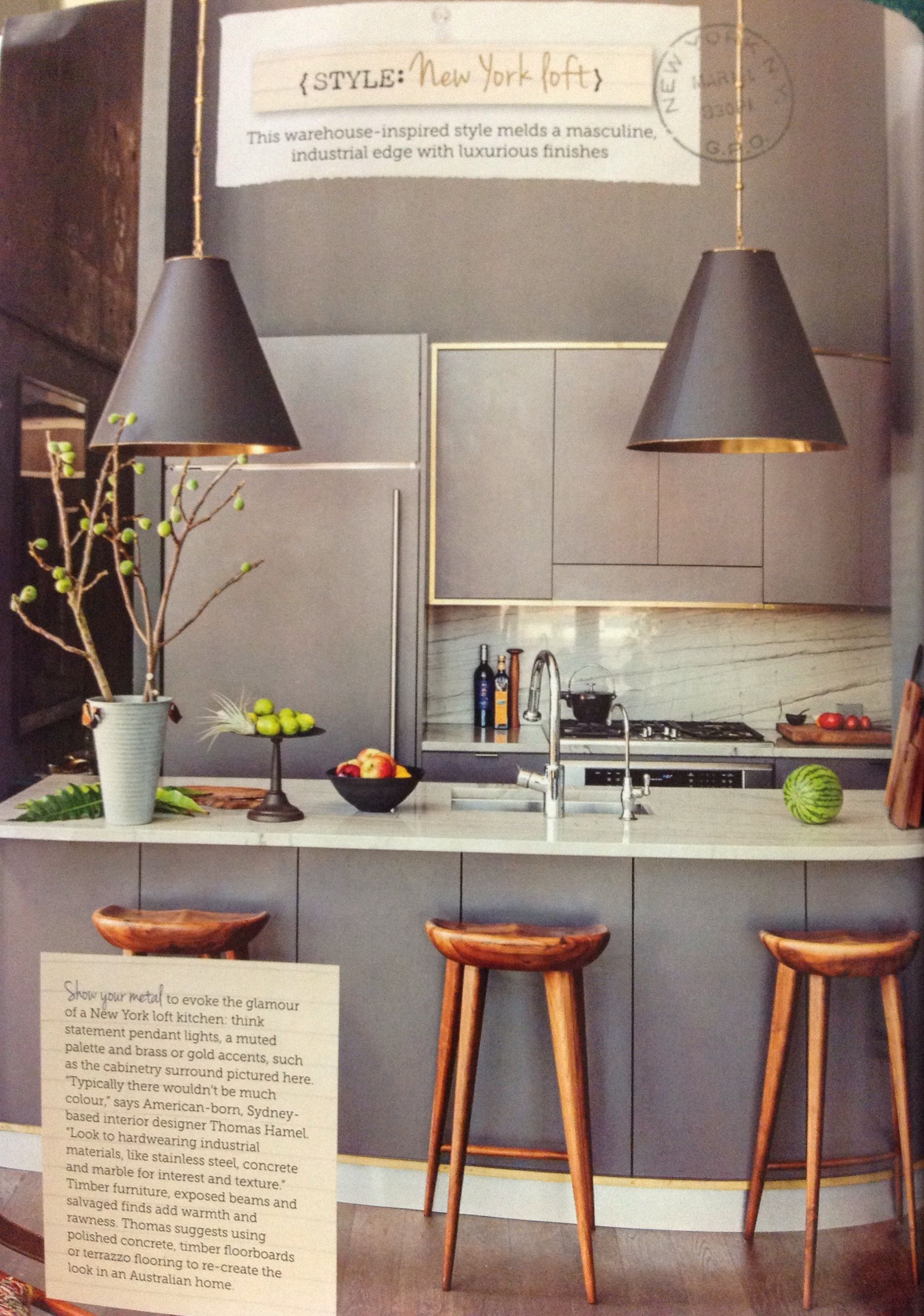 New York Loft Style Kitchen Home Pinterest Lofts Kitchens And Lights