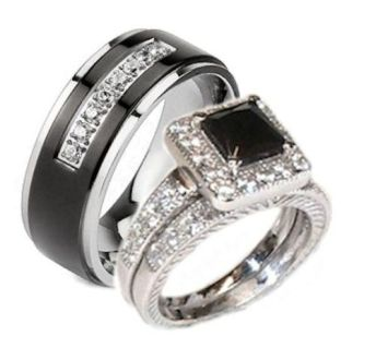 Edwin Earls His Her 3 Piece Black White Cz Wedding Ring Set Sterling     Edwin Earls His Her 3 Piece Black White Cz Wedding Ring Set Sterling Silver  and