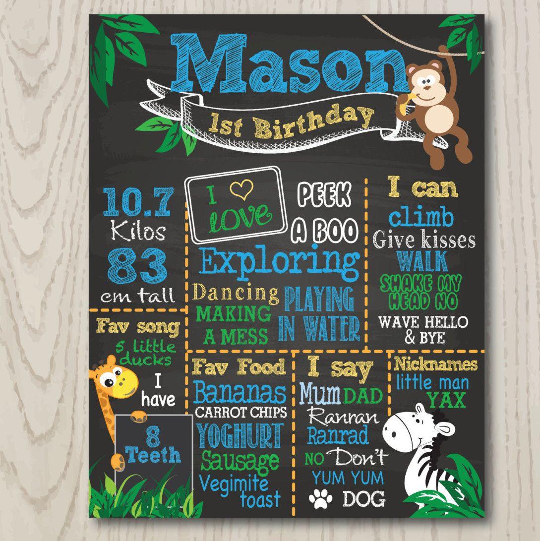 Birthday Board Jungle Theme Animals First Birthday Chalkboard Print Birthday Board