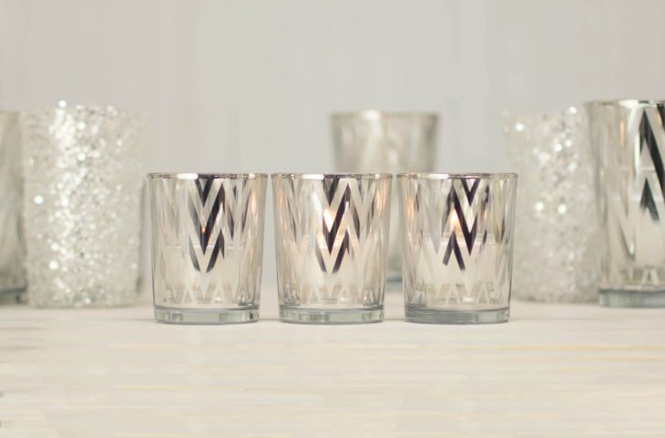 Silver Party Stripe Glass Votive Candle Holders x inch Set