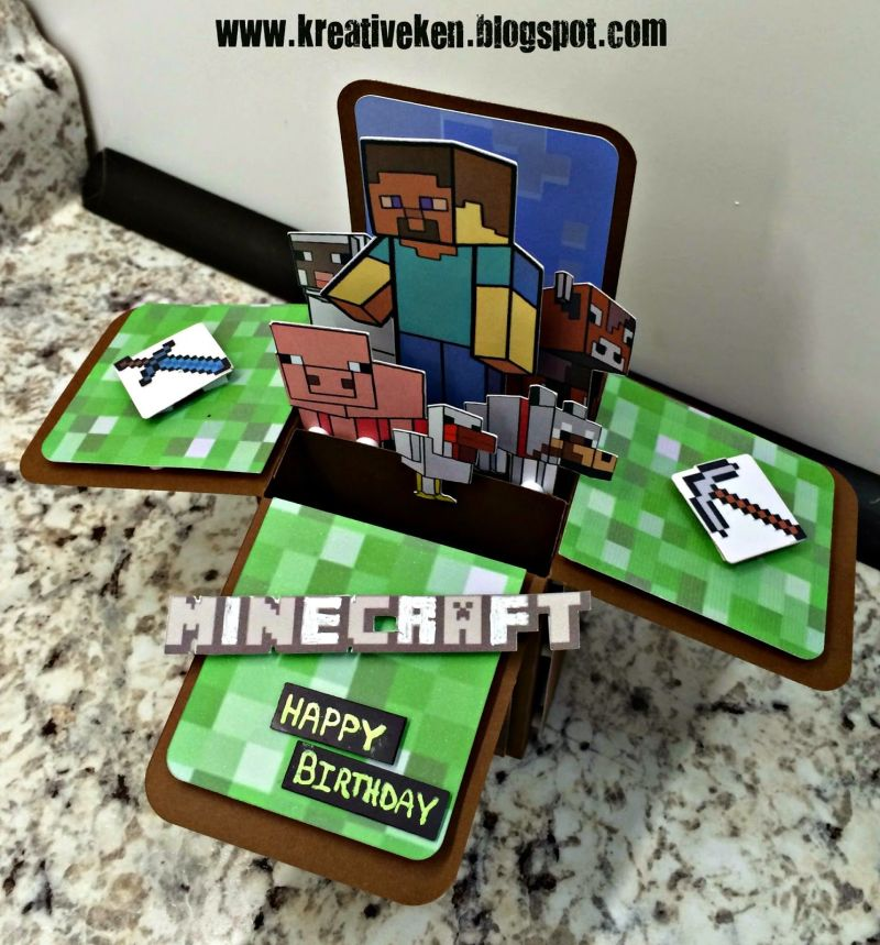Minecraft birthday card cricut explore pinterest