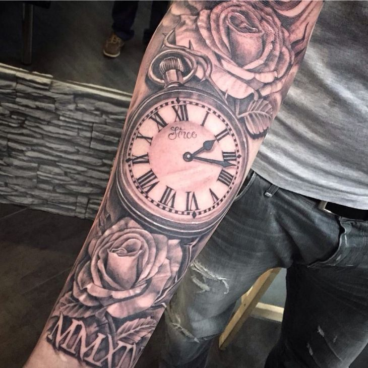 Clock sleeve  Tattoo  Pinterest  Clocks Tattoo and Tatting