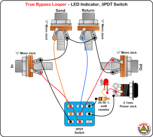 True Bypass Looper Wiring Diagram, LED Indicator, 3PDT