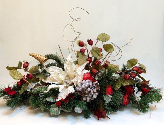 White Poinsettia CHRISTMAS CENTERPIECE, Christmas Decor
