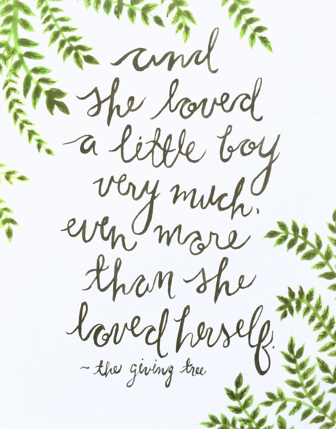 Watercolor Painting The Giving Tree Quote By