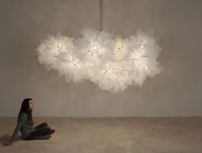 This Almost Cloud Like Chandelier Is Made From Galvanized Painted Steel Lighting