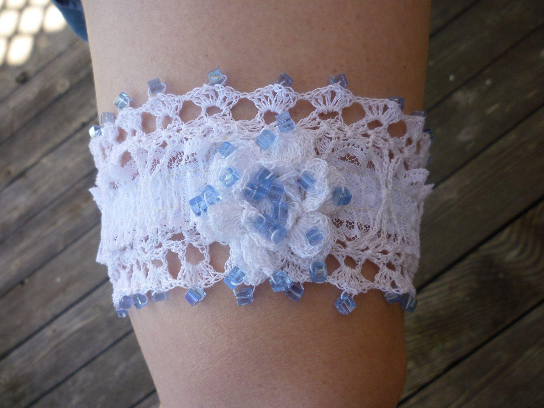 Wedding Garter Hand Crocheted Rose & Blue Beads