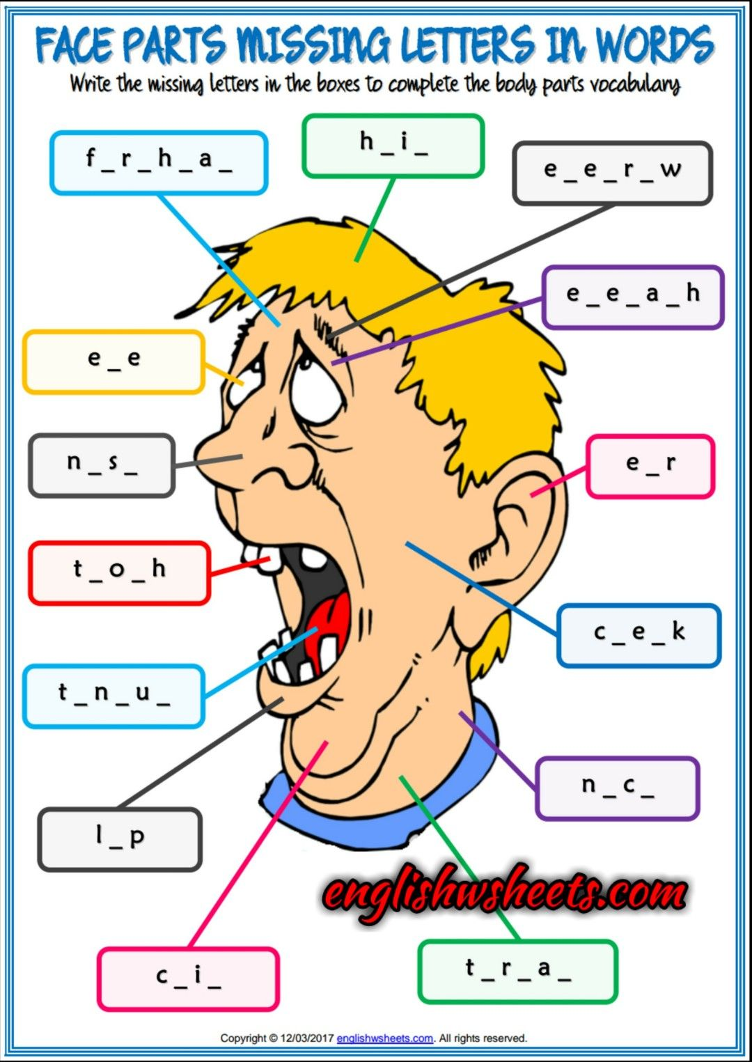 Face Parts Esl Printable Missing Letters In Words
