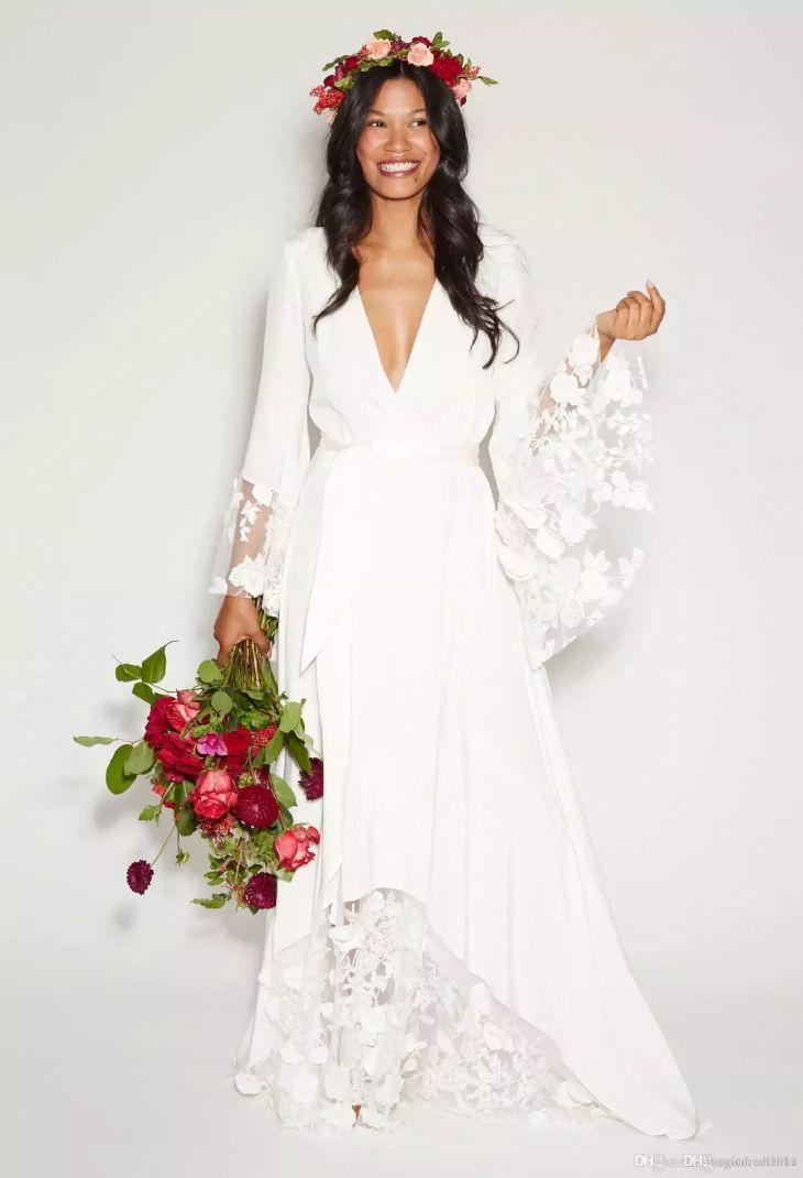 Summer Beach BOHO Wedding Dresses Bohemian Beach Vinatge Bridal