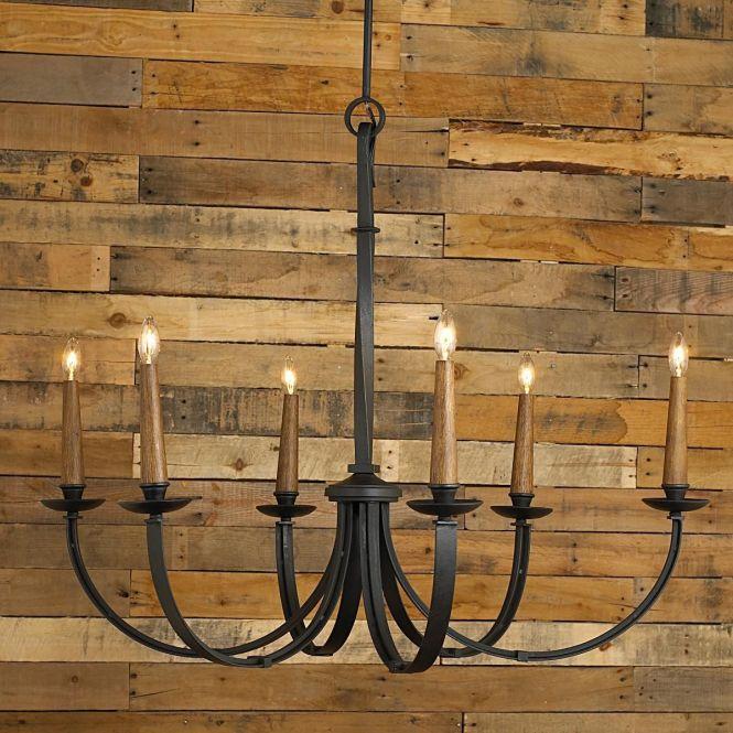 Modernized Rustic Iron Chandelier Large Shades Of Light