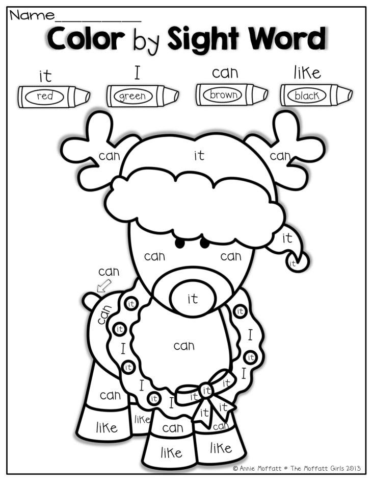 Color by Sight Word for Christmas Tutoring Pinterest Coloring