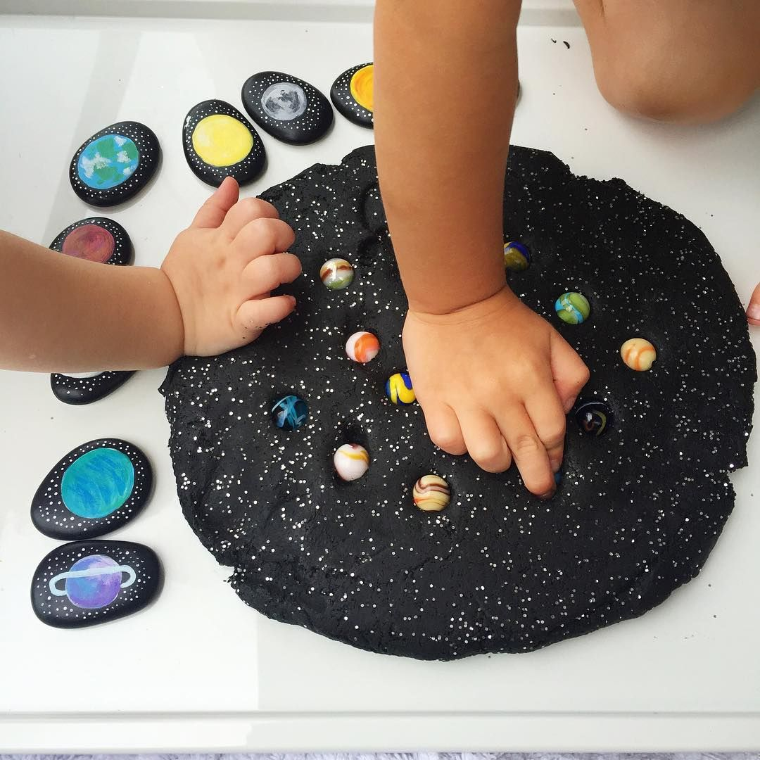 Galaxy Play Dough With Space Themed Story Stones Raftyliving