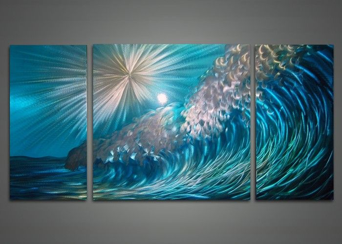 wave metal wall art painting 48x24in i had forgotten about on best wall color for artwork id=56065