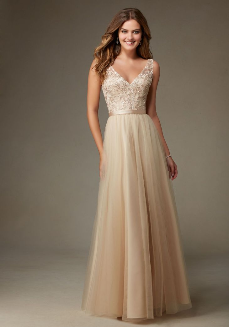 Beautiful Long Tulle Bridesmaid Dress with Embroidery and Beading
