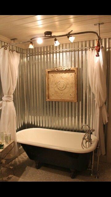 Galvanized Steel Claw Foot Tub Surround Bathroom