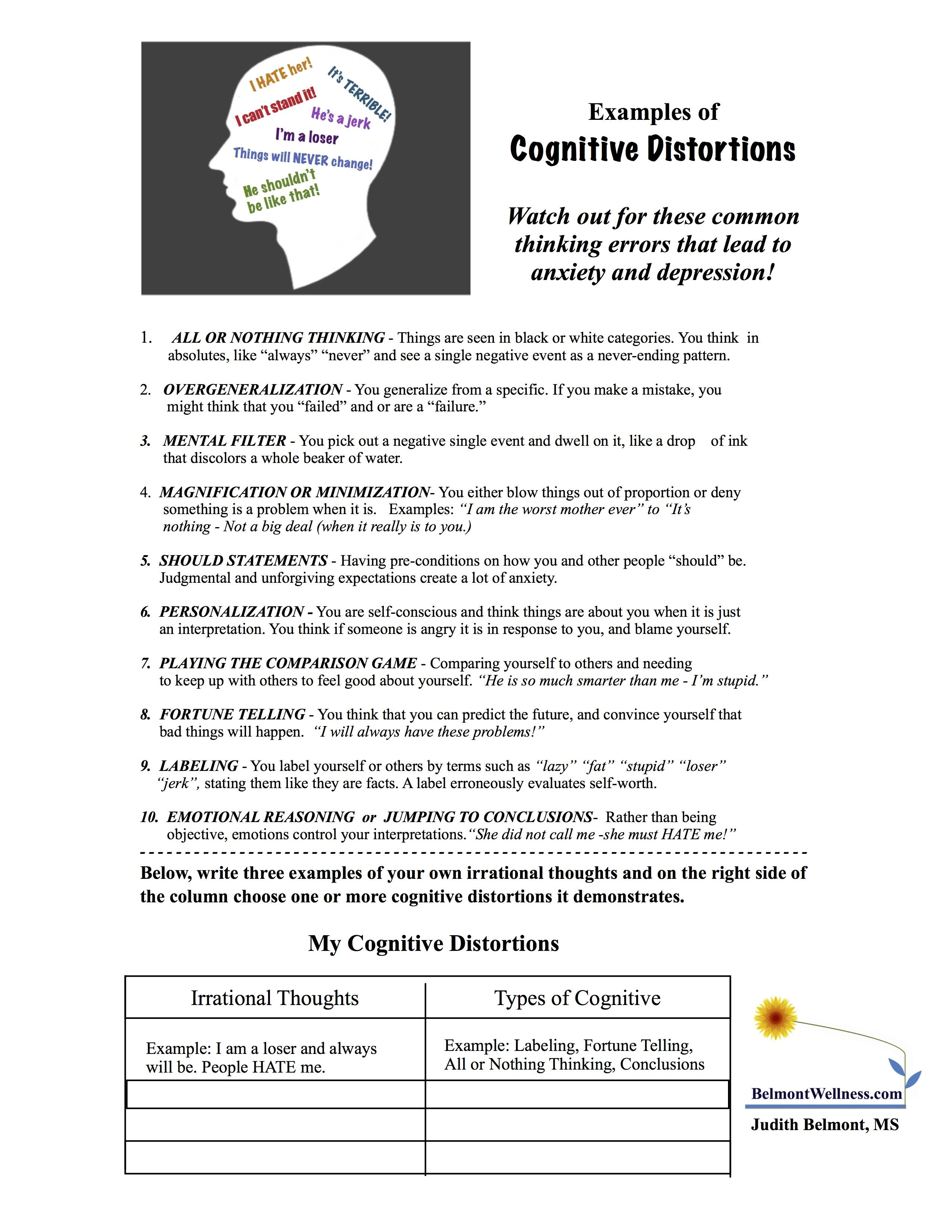 Watch Out For Those Cognitive Distortions For More Free Mental Health Handouts Visit Belmont