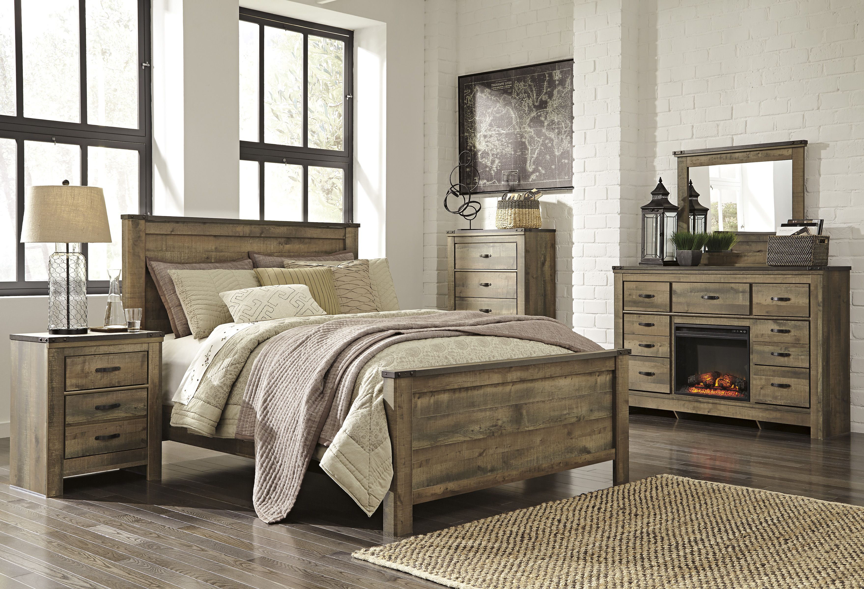 Ashley B446 32 Trinell Dresser With Fireplace Option